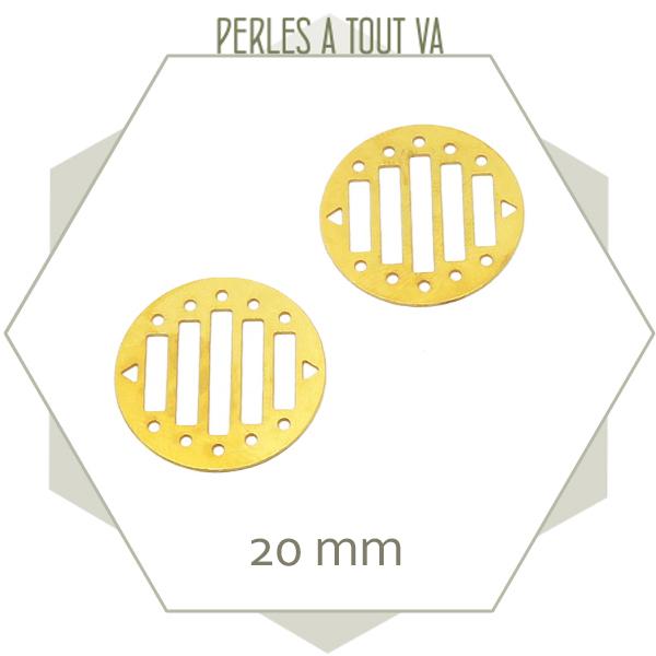 6 breloques rondes ajourées pour tissage, couleur doré