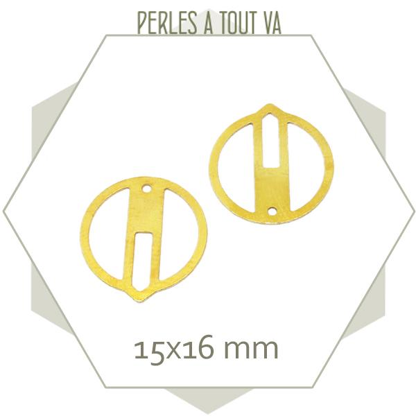 8 breloques cercle ajouré zen, couleur dorée