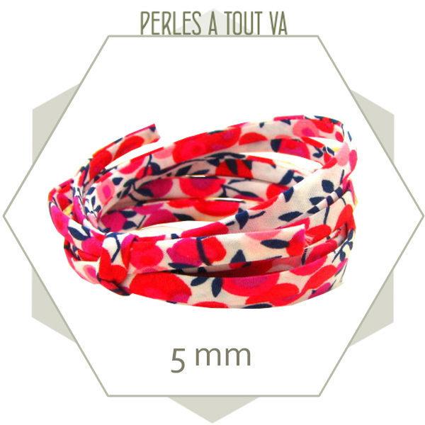1 m de cordon Liberty à fleurs rouge 5 mm