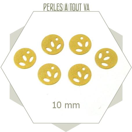 10 breloques pastilles feuilles doré mat
