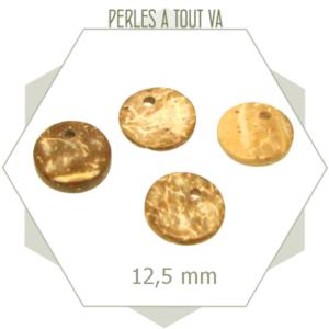 70 breloques rondes en bois de coco marron clair - 12,5 mm