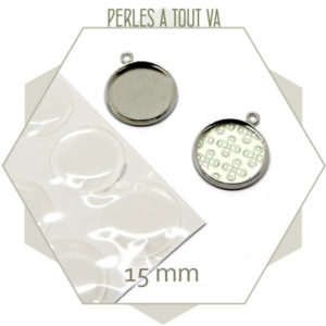 Kit 6 médaillons et cabochons argent - 15 mm