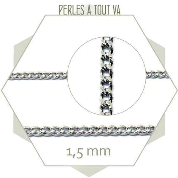 1 m de chaine gourmette argent 1,5mm, matériel bijou fantaisie