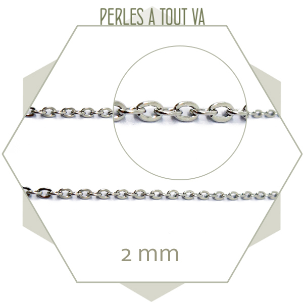 1 m de chaîne 2 mm argent, chaîne maillons ovales