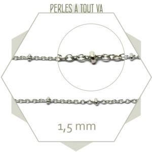 1m de chaîne fine billes et maillons argent, grossiste pour bijoux, chaîne pour bijoux