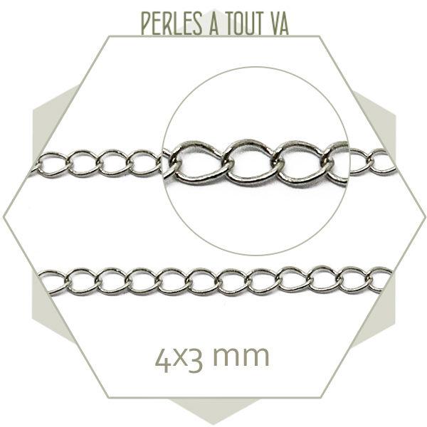 1 m de fine chaînette de réglage argent, chaîne pour bracelet