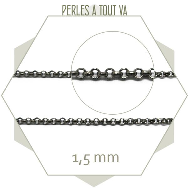 1m de chaîne rolo  gun métal, maillons ronds création bijoux