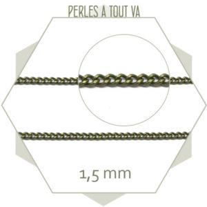 1m de chaîne 1,5 mm bronze, chaîne à maillons soudés pour bijoux