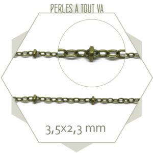 1m de chaîne billes et maillons ovales bronze
