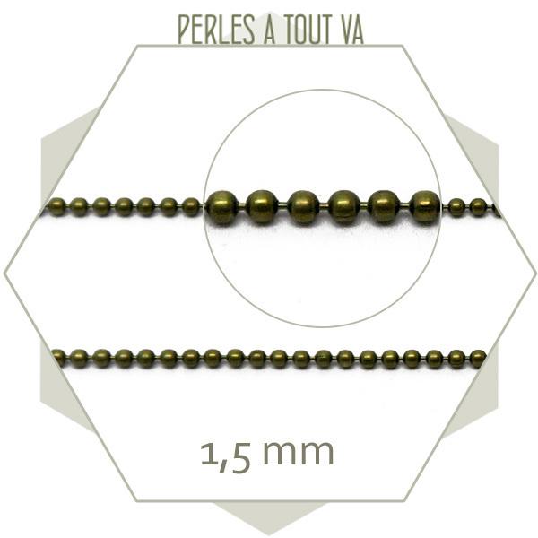 1 m chaîne bille 1,5 mm bronze pour bijoux - matériel colliers