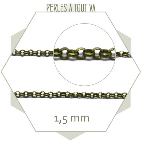 1 m de chaîne rolo 1,5 mm bronze, originale