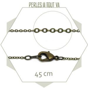 Lot 3 colliers 45 cm chaîne maillon ovale bronze
