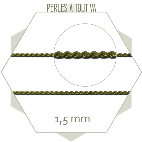 1 m de chaîne serpentine bronze 1,5 mm plate, chaîne fantaisie