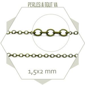 1m chaîne 1,5 x 2 mm bronze bronze - chaîne pour bijoux