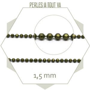 Chaîne billes facettes bronze 1.5mm - perles à tout-va