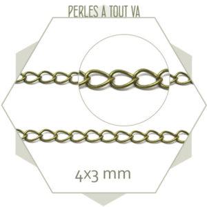 1m fine chaînette de réglage bronze, maillons simples pour bijoux