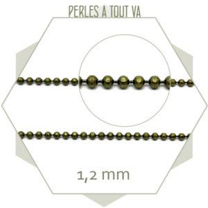 1m de chaîne billes à facettes bronze 1,2 mm - fournitures bijoux