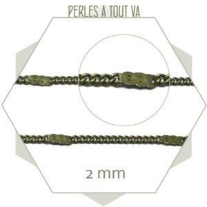 1m de chaîne 2 mm bronze, motif plat, chaîne au mètre pour bijoux