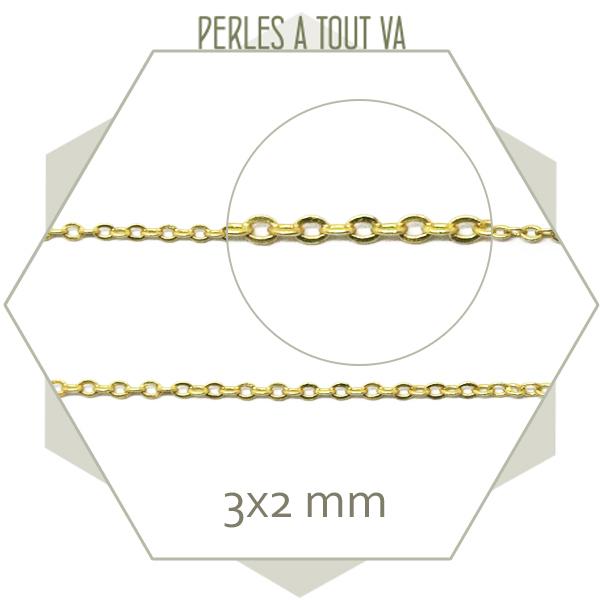 1m chaîne forçat dorée mate 2x3 mm, inusable