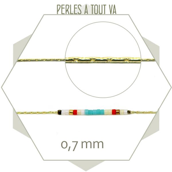 1m chaîne cordon ronde dorée 0,7 mm