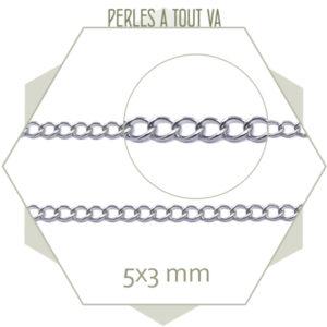 1m de chaînette de réglage en acier argent, chaîne gourmette pour création de bijoux