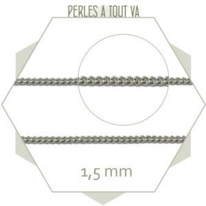 1m de chaîne gourmette en acier argent 1,5 mm, chaîne gourmette pour création de bijoux