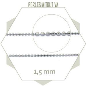 1m de chaîne billes en ACIER 1,5 mm argent