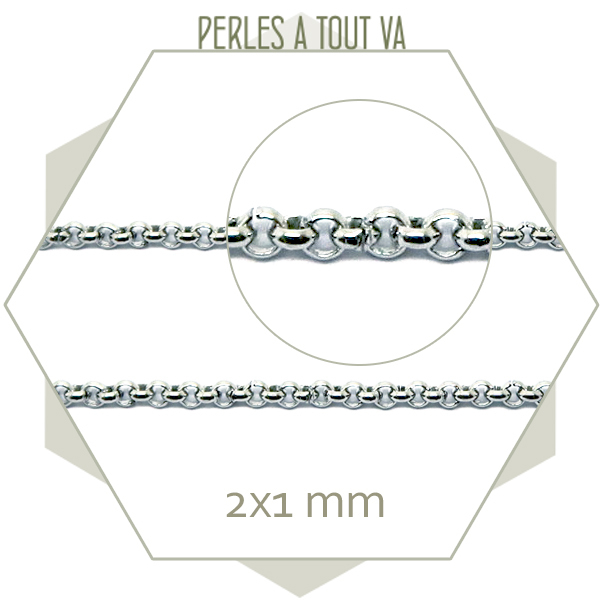 1m de chaîne rolo en acier argent, chaîne maillons ronds