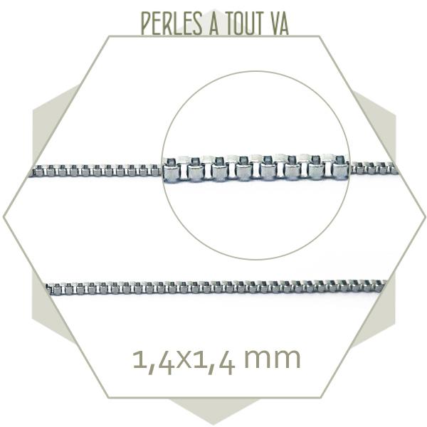 1 m de chaîne box en acier argent - Chaîne maillons carrés