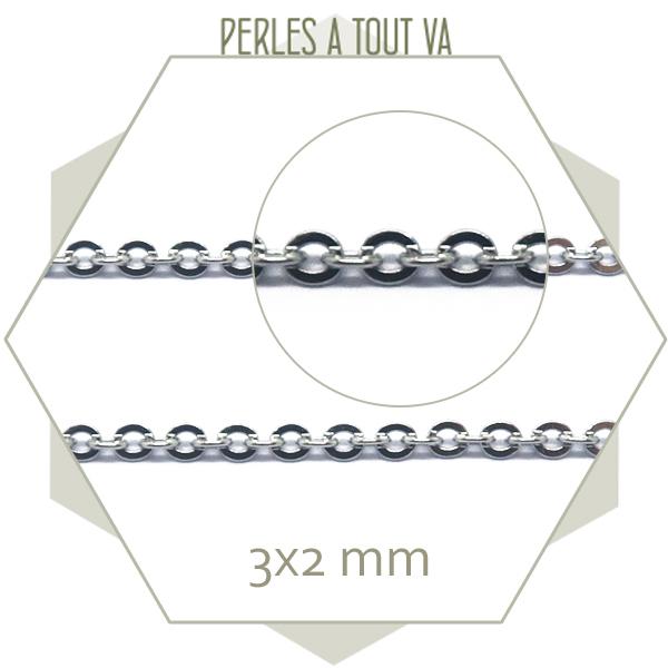 1m de chaîne ovale en acier argent 3 mm, chaîne forçat pour création de bijoux