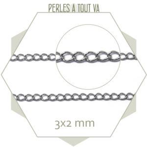 1m de chaîne maille gourmette acier argent 3x2 mm