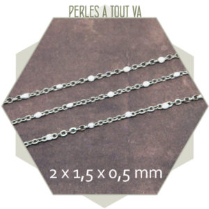 1m de chaîne acier et maillons émaillés blanc