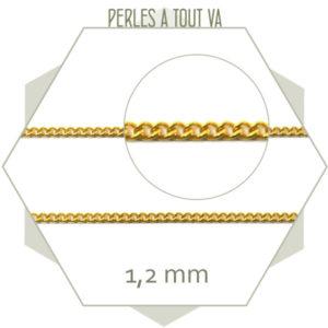 1m de fine chaîne gourmette en acier doré