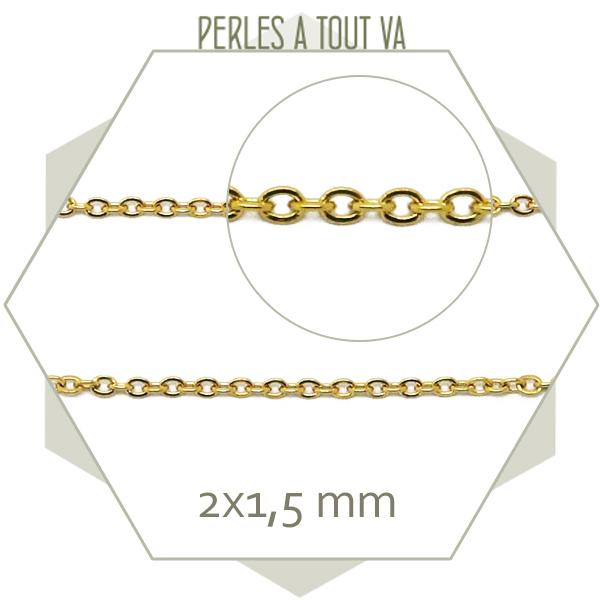 1m de chaîne ovale en acier inox doré 1,5 mm