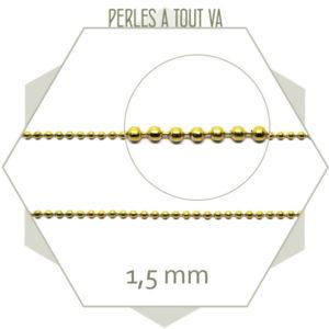 1m de chaîne billes en ACIER 1,5 mm doré