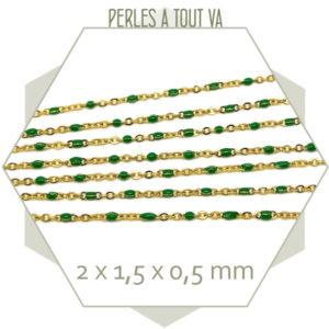 1m de chaîne acier doré et maillons émaillés vert