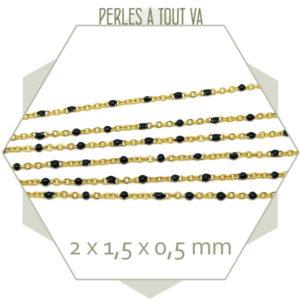 1m de chaîne acier doré et maillons émaillés noir