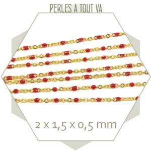 1m de chaîne acier doré et maillons émaillés rouge