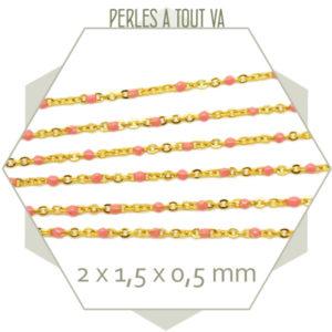 1m de chaîne acier doré et maillons émaillés rose pastel