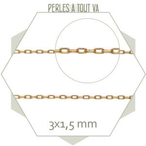 1m de chaîne maillon ovale 1,5x3 mm, laiton brut, matériel bijoux