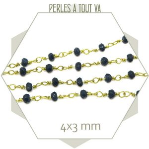 0,5 m de chaîne de perles de jade 4x3 mm bleu foncé