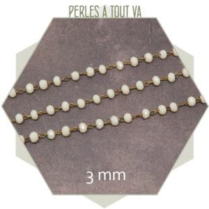 0,5 m de chaîne rosaire, perles de verre 3 mm crème,chaîne perlée