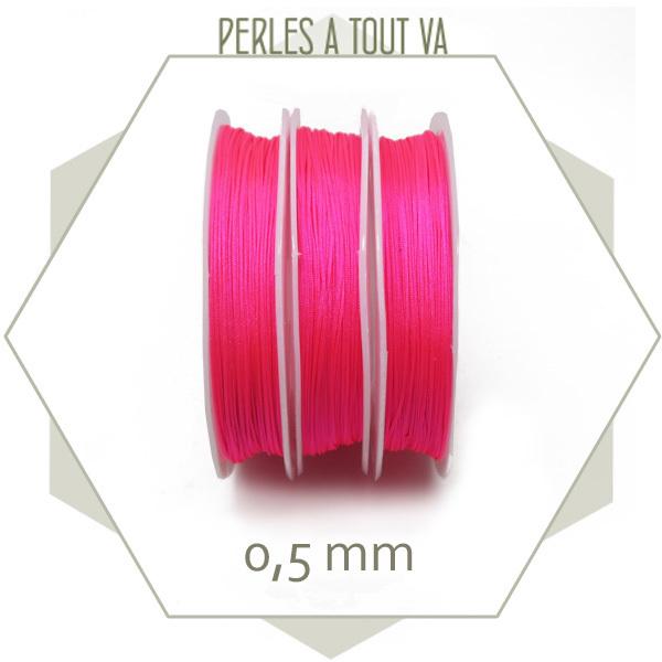 25 m de fil de jade rose fluo 0,5 mm