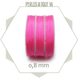 20 m de cordon synthétique 0,8 mm rose fluo