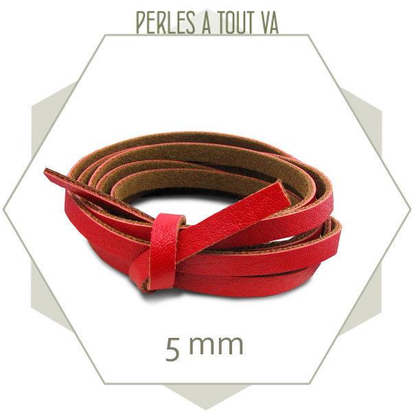 2m de lanière simili cuir 5 mm rouge