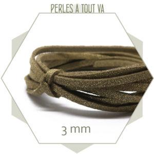 5 m lacet suédine 3 mm, imitation daim marron clair pailleté doré