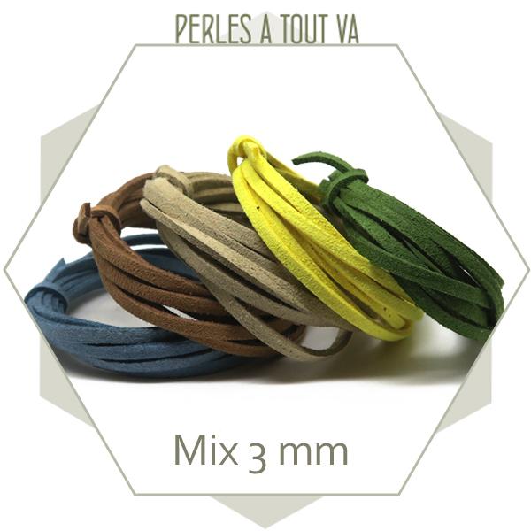 assortiment lanières suédine 3 mm, 5 couleurs