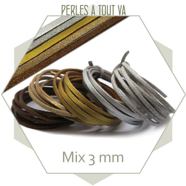 Assortiment lanières suédine pailletée et simili cuir 3 mm