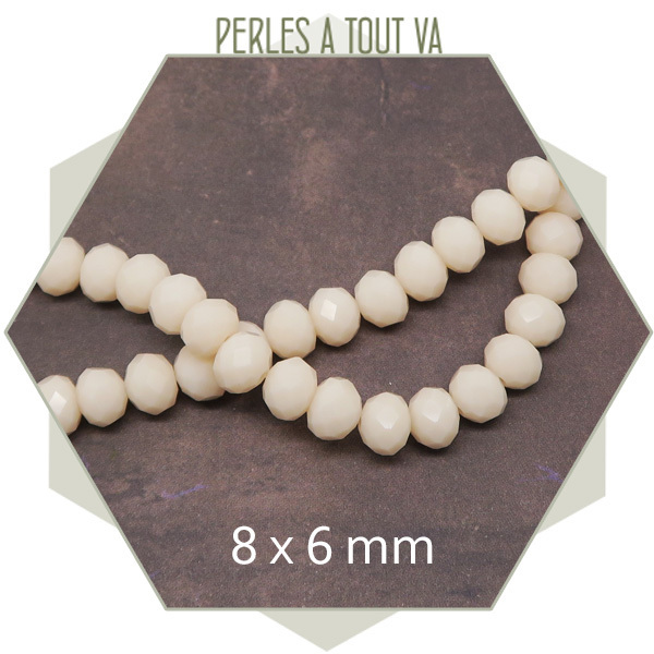 70 perles de verre à facettes donuts crèmes 8x6 mm