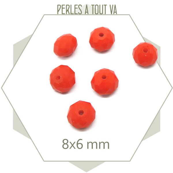 75 perles de verre à facettes donut 8x6 mm orange vif